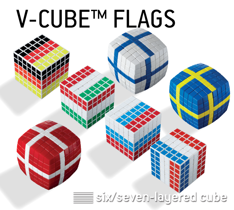 V-CUBE™ Flags. 2-3 colored, 8 or 7 layered - V-Classics 7x7x7 and 8x8x8 smooth rotation Cube