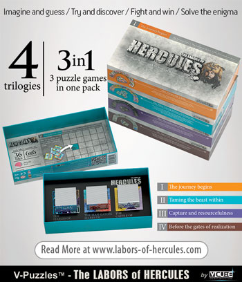 V-Puzzles™ - The LABORS of HERCCULES - Brain Teaser 2D Pattern-Puzzle