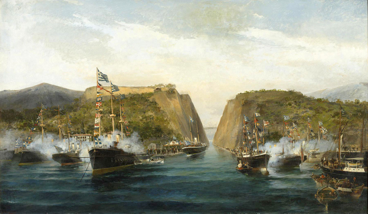 The opening of Corinth Canal in 1893. Painted by Constantinos Volanakis
